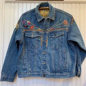 VINTAGE zodiac embroidered jean jacket. Wow.